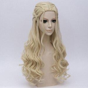 Image 4 - Game of Thrones Daenerys Targaryen Cosplay Parrucca Sintetica Dei Capelli Lunghi Ondulati Drago di Madre Parrucche Del Partito di Halloween Costume per Le Donne