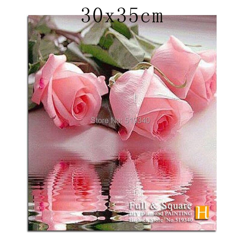 полный алмазный крест вышивка красочные розовые