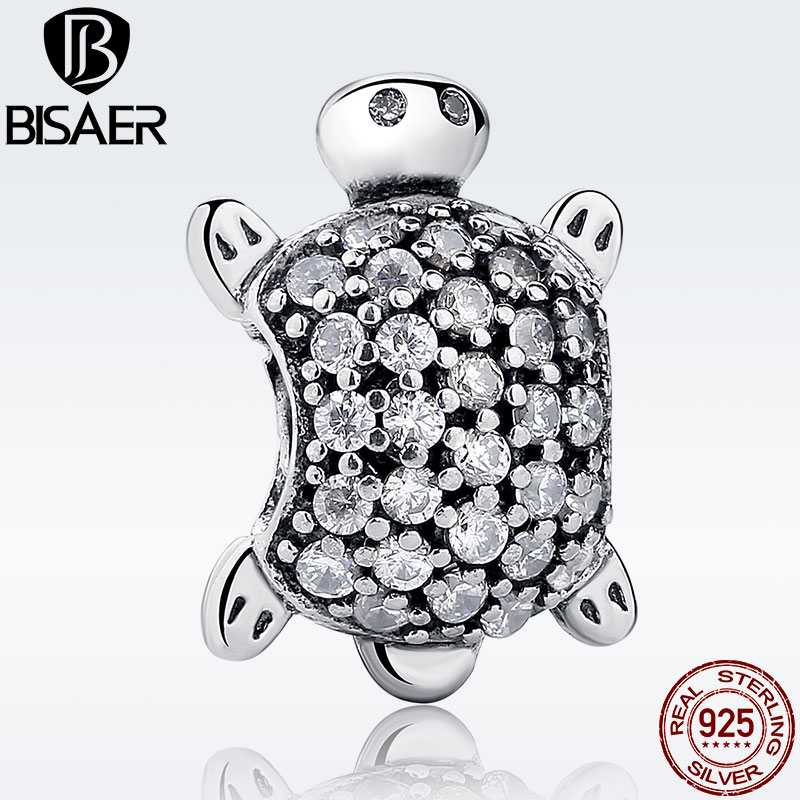 Exquisite Tortoise Clear CZ Turtle Animal Charm Fit BISAER Original Bracelet 925 Sterling Silver DIY Accessories Jewelry WEUS147 925 sterling silver sea turtle charm beads fit bracelets original animal turtle clear cz bead diy jewelry pas147