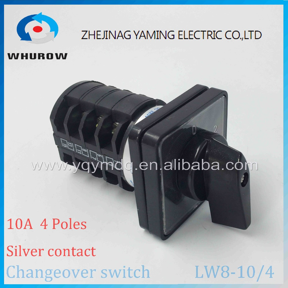 Cam switch LW8-10/4 universal switch 10A 4 poles 3 Positions 16 Terminals black rotary changeover switch silver contact lw8 10d222 3 rotary handle universal cam changeover switch ui 500v ith 10a