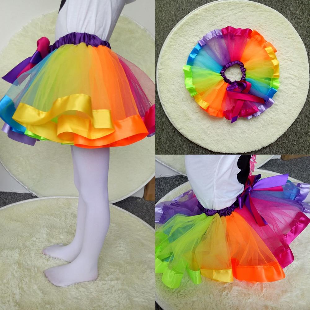 2018 Hot Summer Girls Skirt Kids Petticoat Rainbow Pettiskirt Bowknot Tutu Dancewear Saias Faldas