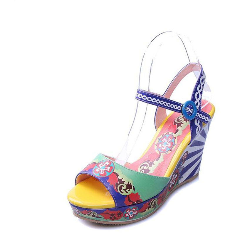 Female wedge sandals in the summer of 2017 the new high heels thick leather bottom printing leisure fish mouth sandals female wi 2016 summer new leather tendon at the bottom side of the empty fish head crude rainbow low heeled shoes women xtf039