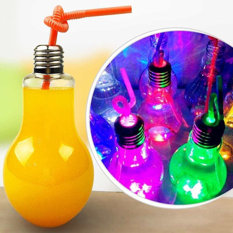 Luminous Lamp Beverage Bottle Bulb Bottle 400ml Creative Tea Drink Bottles Cup ...