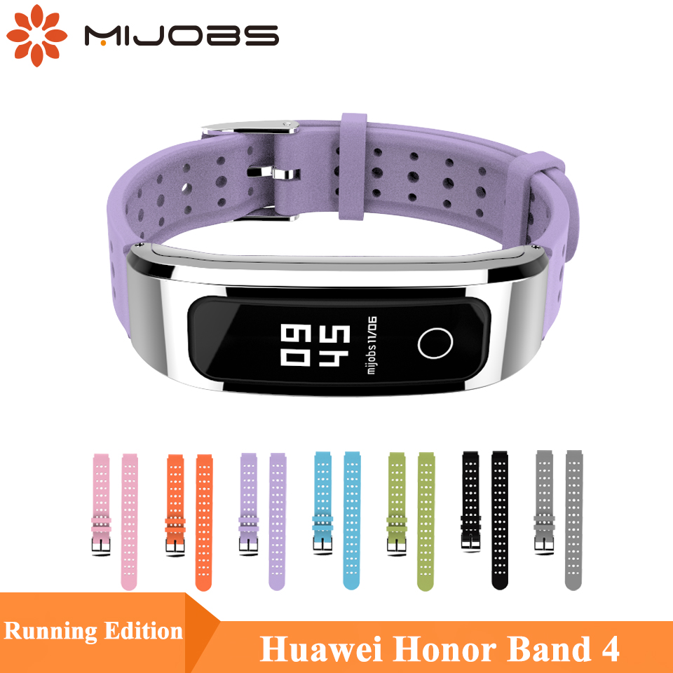 Mijobs Silicone Wrist Strap For Huawei Honor Band 4 Runnning Version Smart Wristband Sport Bracelet Honor Band 4 Strap Running in Smart Accessories from Consumer Electronics