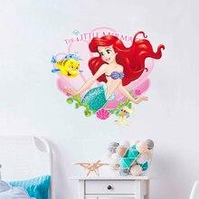 Pegatinas de pared de princesas de dibujos animados de La Sirenita de Disney para la decoración del hogar del baño, póster para habitaciones infantiles de PVC 3D, calcomanías de arte de pared