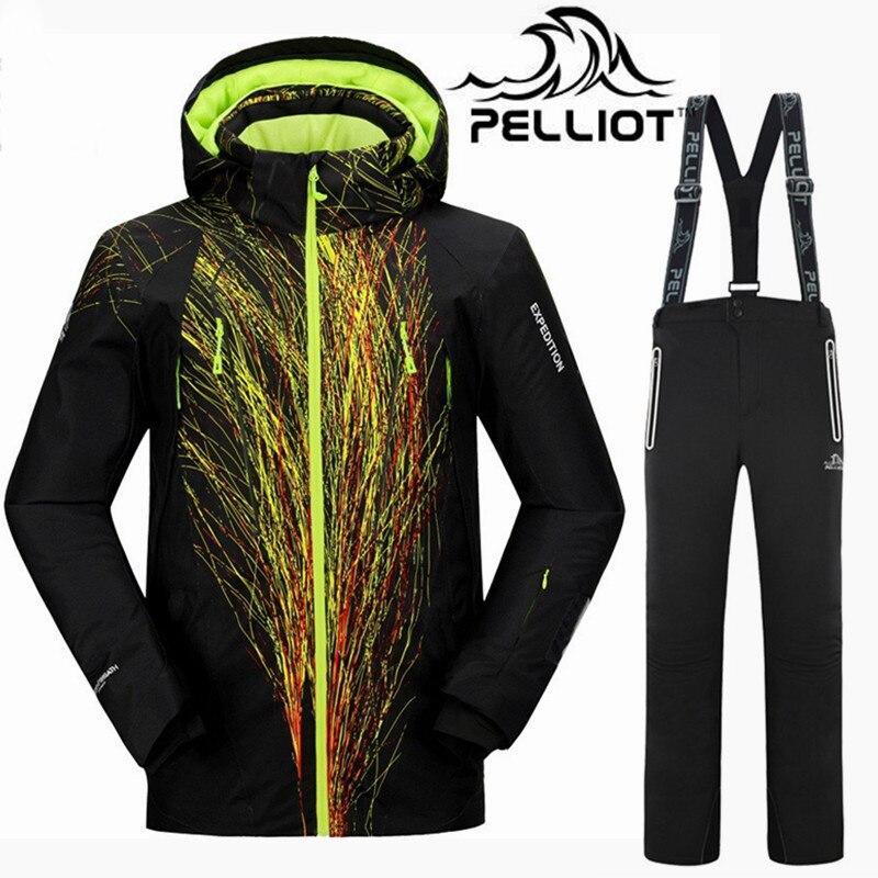 De calidad superior Pelliot marca traje de esquí traje de los hombres súper Cálido impermeable chaqueta de esquí chaqueta de snowboard trajes transpirable al aire libre de la montaña esquí