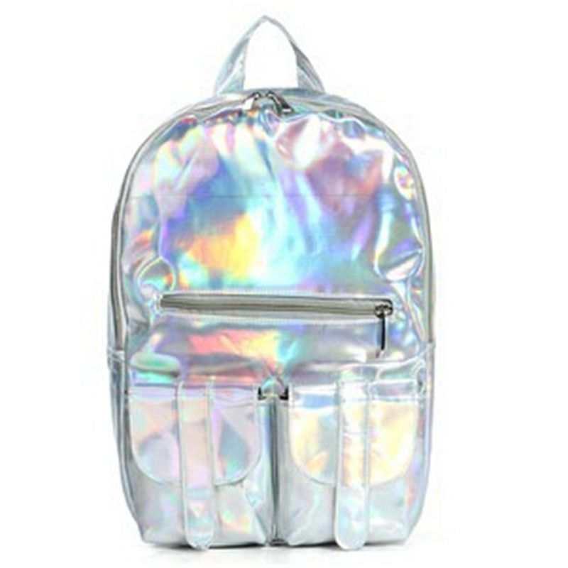 New 2014 Promotion Silver Hologram Laser Backpack men Bag leather bag Multicolor Silver Business Zipper Backpack women trans men cu multicolor 2013 2014 157