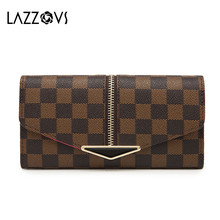 Купить с кэшбэком LAZZOVS 2019 Fashion Wallet for Men Women Wallet Female PU Leather Leisure Purse Women Wallets Long Coin Purse top quality