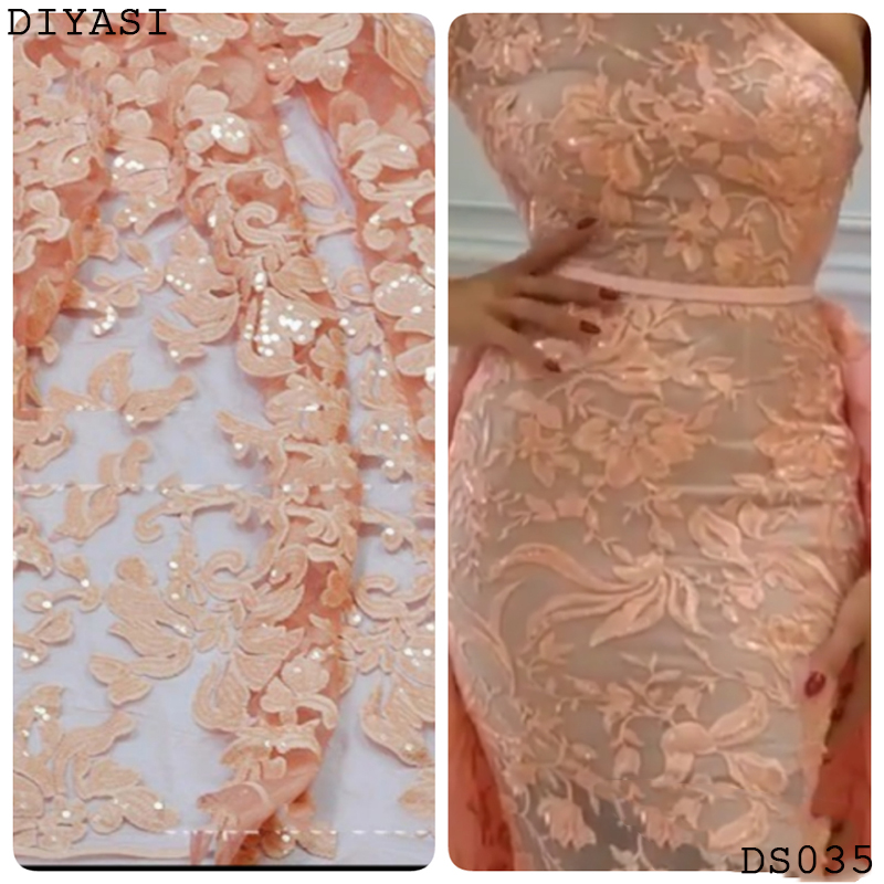 sequin lace fabric best selling high quality African lace fabric bridal lace Nigerian tulle lace fabric for party dress Swiss in Fabric from Home Garden