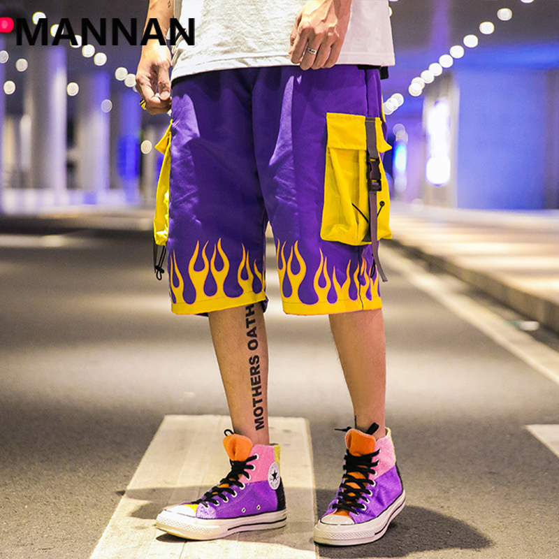 MANNAN Short Pants Men Casual Hip Hop Pocket Fire Streetwear Print Loose Cargo Shorts Men Summer Fashion High Street Bermuda