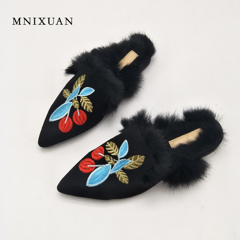 MNIXUAN Women flat mules shoes 2017 fashion genuine leathe casual ladies pointed toe embroidered warm rabbit fur big size 34-43 ladies flat shoes fashion women flats ankle strap pointed toe flat shoes casual ladies loafers black shoes zapatos de mujer