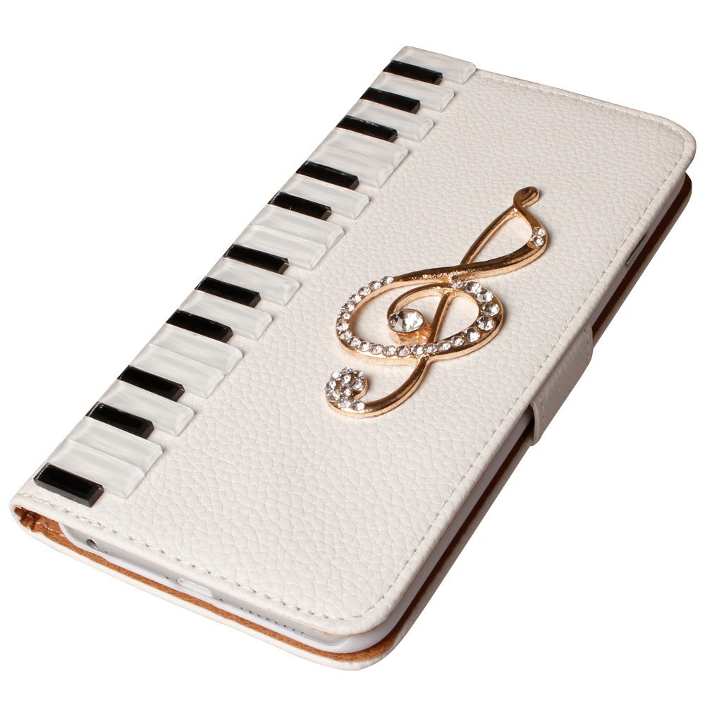 Piano Musical Note Leather Cell Phone Case For iPhone