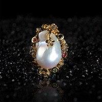 Крест границы Специально для Жемчужина барокко кольцо серебро 925 инкрустированные естественный пресноводный жемчуг орнамент ювелирный за