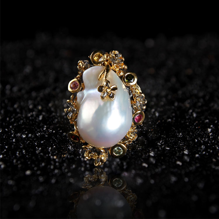 Cross border special for baroque pearl ring 925 silver inlaid natural freshwater pearl ornament jewelry factory