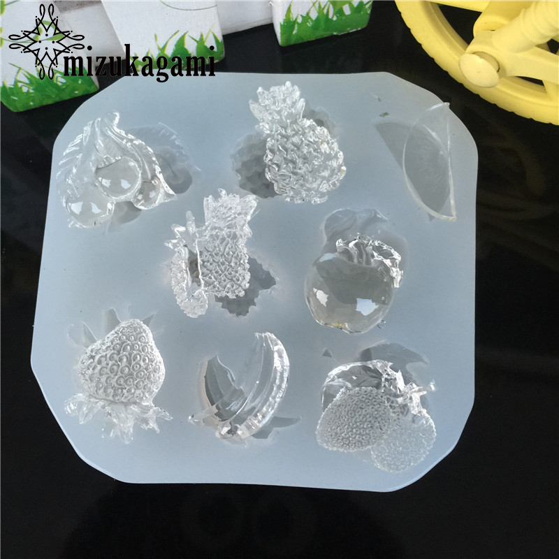 1pcs UV Resin Jewelry Liquid Silicone Mold Cherry Apple Fruit Resin Charms Molds For DIY Intersperse Decorate Making Jewelry