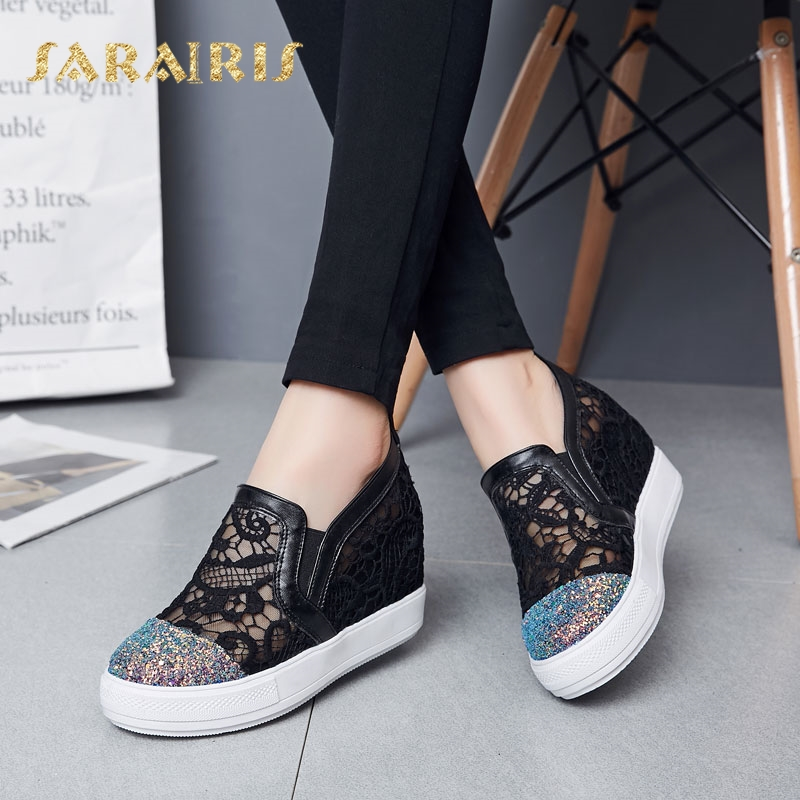 SaraIris Women's Breathable Lace Upper Hidden Wedge Heel Summer Casual Sneakers Woman Platform Vulcanize Shoes cloth camouflage lace up hidden heel womens sneakers