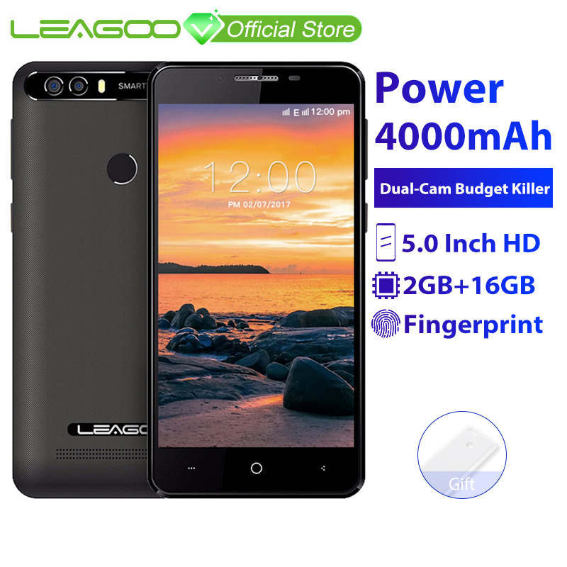 LEAGOO KIICAA Power 2GB 16GB Mobile Phone Android 7.0 5.0 Inch HD 8MP Dual Camera MT6580A Quad Core Fingerprint ID 3G Smartphone(China)