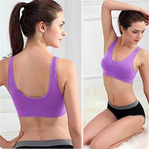 602a6efdf3 sports bra plus size Women Seamless Wire Free Padded Crop Top Fitness Vest
