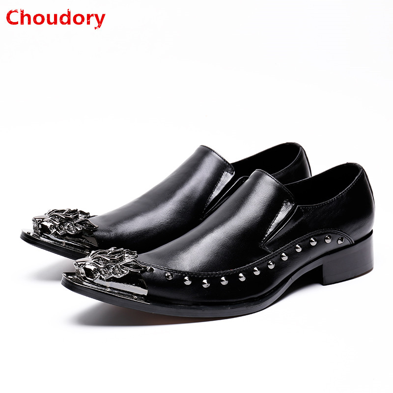 Shoes Mens Dress Shoes Black Handmade Shoes Italy Crocodile Skin Leather Shoes Spiked Loafers Men Prom Elegant Wedding Shoe Plus Size