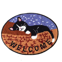 Brown Oval Handmade Knitting Embroidery Cute Sleeping Cats Non slip Rugs Kilim Carpets for Home Living Room Kids Room Carpet