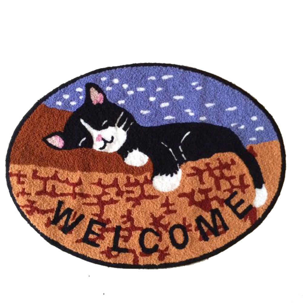Brown Oval Handmade Knitting Embroidery Cute Sleeping Cats Non-slip Rugs Kilim Carpets for Home Living Room Kids Room Carpet