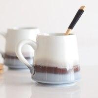 Simple literary mug Creative ceramic mug coffee cup Japanese style lid with spoon large capacity teacup lo9191034