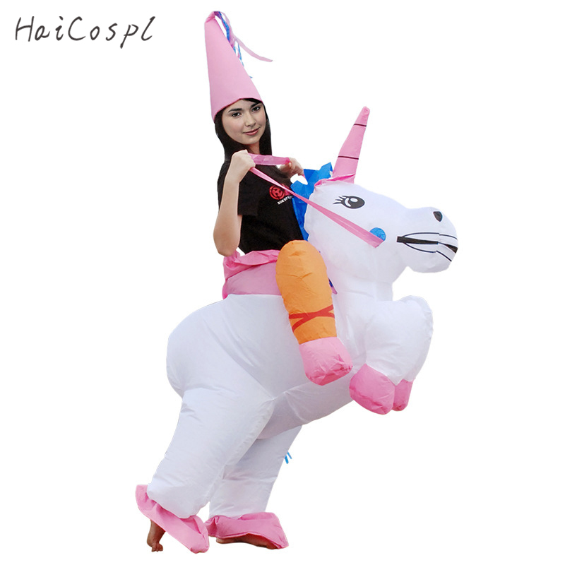 Inflatable Unicorn Costume Shark  Dinosaur Animal Cosplay Women Men Funny Mascot Fancy Waterproof Halloween Party Suit Adult