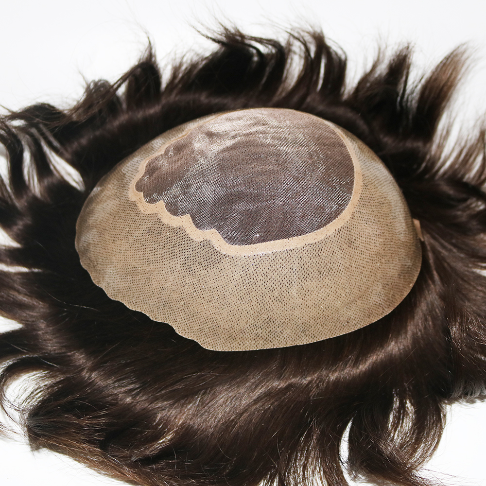 Eversilky Durable Hair Replacement For Men Human Hair System Fine Mono Hairpieces Poly Skin Toupee Male Wigs Super Handrafts