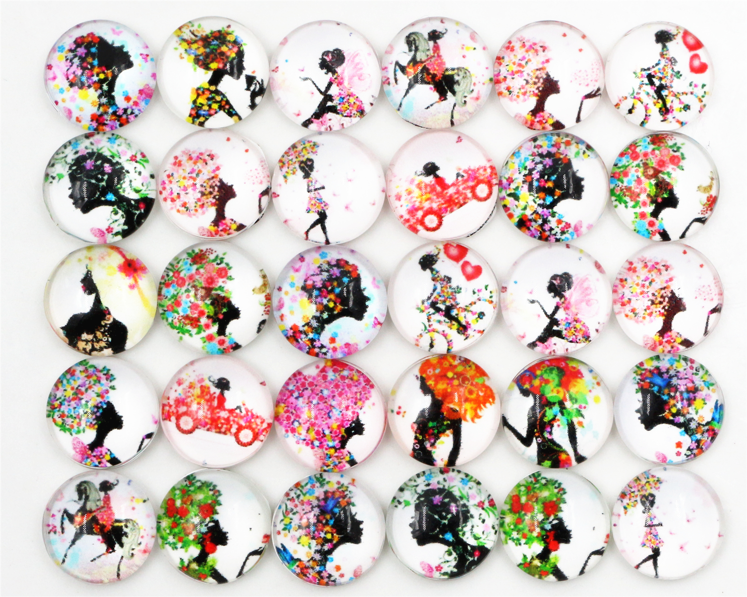 50pcs/Lot 12mm Photo Glass Cabochons Mixed Color Black Girl Cabochons For Bracelet Earrings Necklace Bases Settings-E1-12