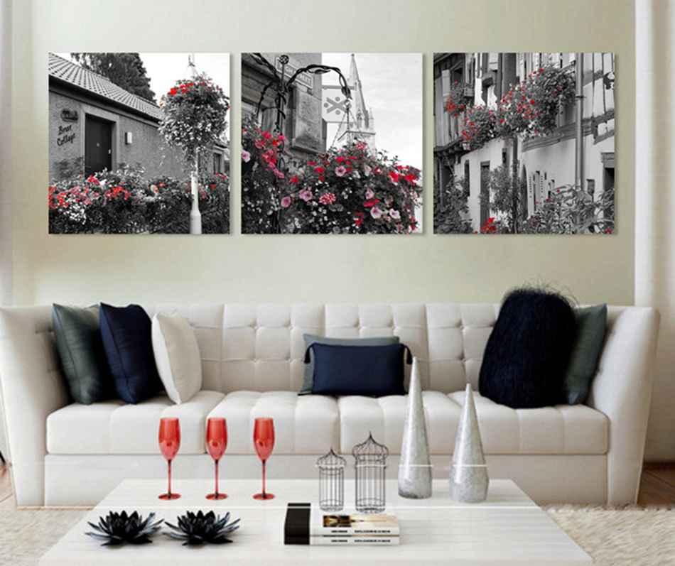 3 pieces modern wall painting free shipping home for Modern decorative pieces