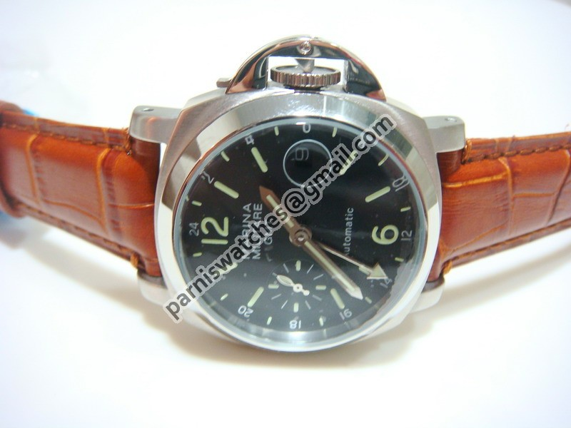 f51e24349 Parnis navy 40mm black dial gmt black ribbon seagull movement automatic  mechanical brown leather strap watch