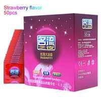 MingLiu 50 pcs Sabor Morango Preservativos Contracepção Preservativos de Látex Natural Suave com muito óleo Lubrificado Preservativos para Homens