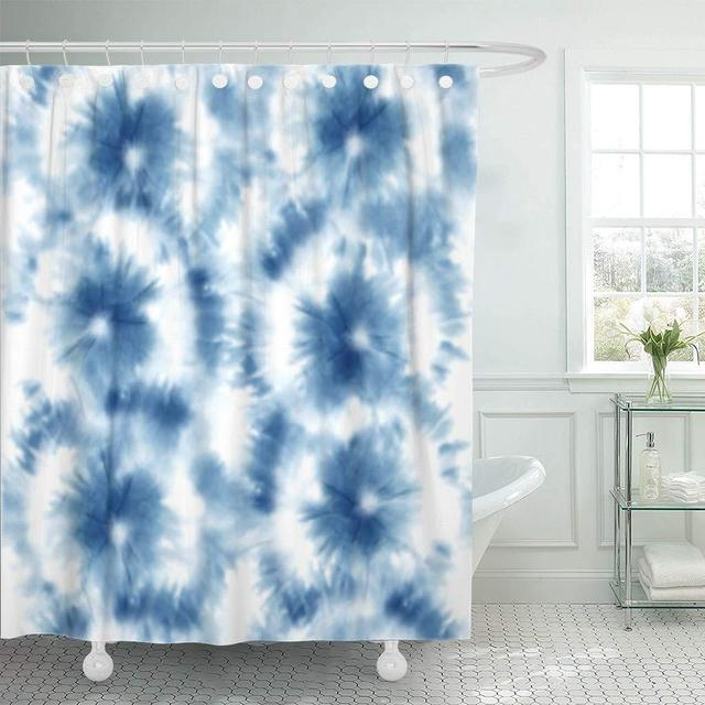 Shower Curtain Hooks Abstract Tie Dye Shibori Pattern Ink Japanese Modern Batik Watercolor Endless China Dot Decorative Bathroom