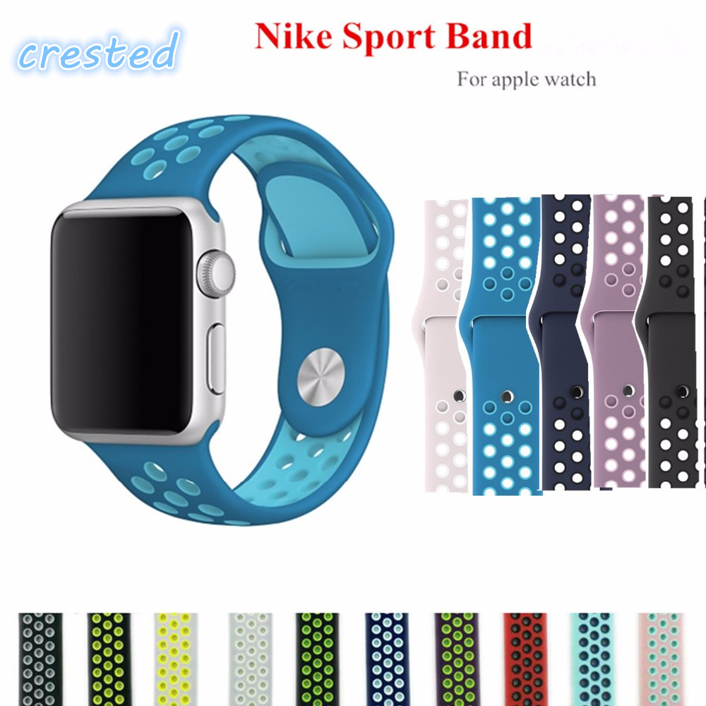 все цены на CRESTED Sport silicone strap for apple watch band 42 mm 38mm bracelet  rubber silicone watchband Adapter for iwatch  serise 1 2 онлайн