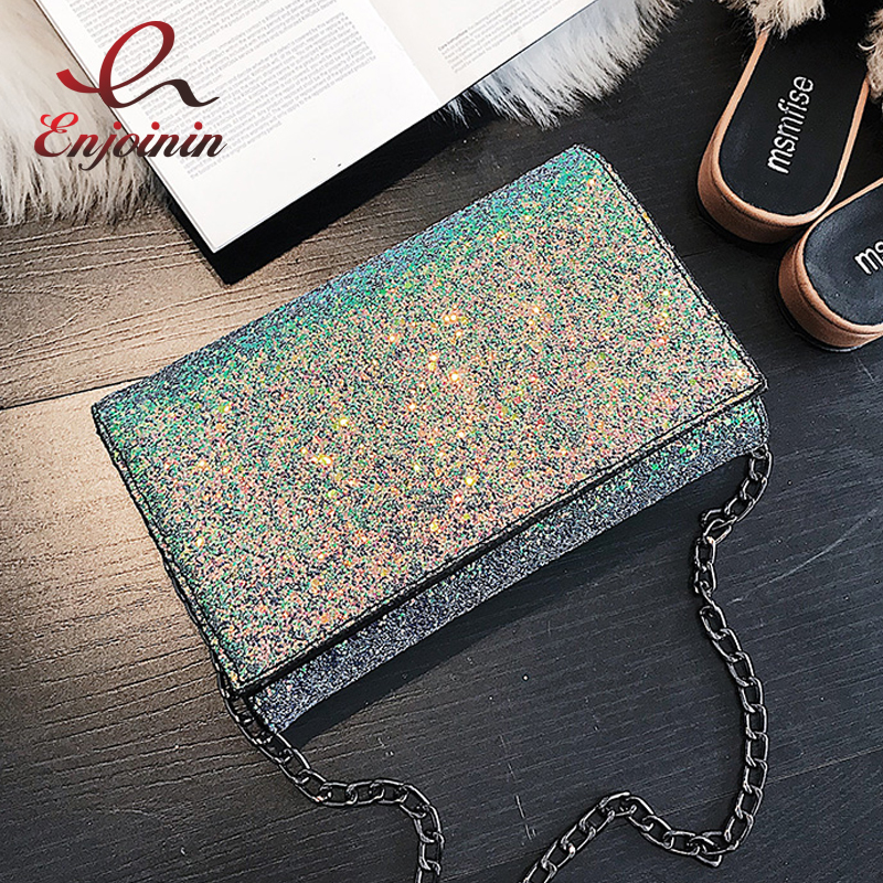 Fashion Bling Bling Female Casual Chains Purse Party Clutch Bag Evening Bag Pouch Women's Crossbody Mini Messenger Bag Flap transparent striped color fashion party chain purse female clutch bag handbag shoulder bag ladies crossbody mini messenger bag