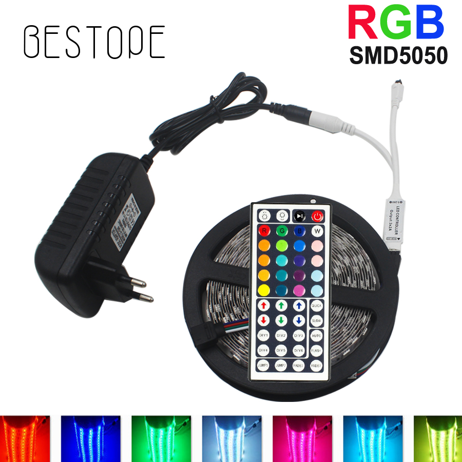 10M  RGB LED Strip 5M 5050 SMD LED Light Tape Flexible Ribbon Waterproof IR Remote Controller DC 12V Power Adapter Full set beilai 5050 rgb led strip waterproof 5m 10m 30led m dc 12v led light strip flexible neon tape with 3a power and 44key remote