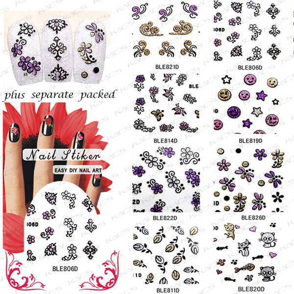 2015 HOTSALE 50sheet/LOT 3d Nail Art Design Glitter Nail Sticker Sheets Decals for nail art,8 different design +Separate Packed