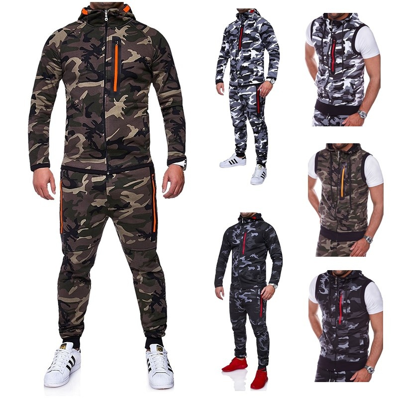 ZOGAA Men Sets 2 Parts Hooded Sweatshirt And Sports Pants Camouflage Mandarin Collar Zipper Fly Military Full Sleeve