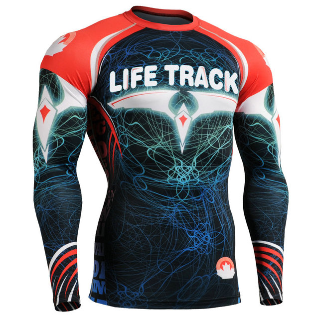 7d3923f6551f US $49.99 |Anti UV Compression Long Sleeves Tights MMA Bodybuilding Fitness  Outdoor Sports Wear Quick Dry Tee Breathable Wrestling Shirt-in Underwear  ...