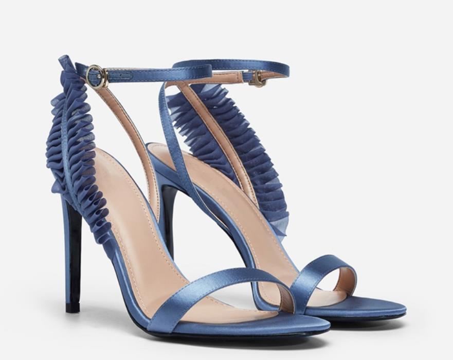 Noir 2019 Dentelle Tout Sandales Le Slinky Été Aller bleu Nouveau Single breasted Avec 1qCfxng