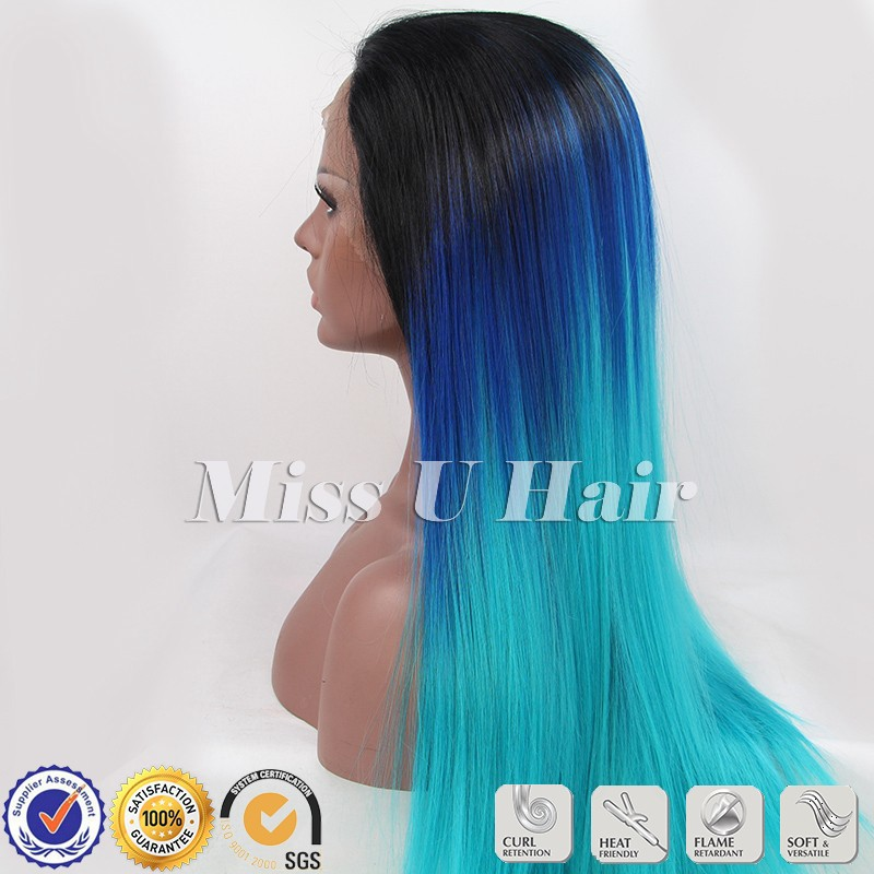 Black Blue Green Wig Straight Blue Ombre Wig Turquoise Ombre Hair