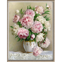 HOT Peony Flower Pattern Diamond Embroidery DIY Needlework Diamond Painting Cross Stitch Full Rhinestones Painting Home