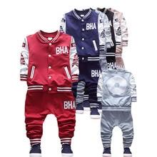 цена на 2016 brand new Boys clothing set kids sports suit children tracksuit boys long shirt + pants gogging sweatshirt casual clothes
