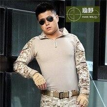 Тактические Desert digi Камуфляж Военная Форма Одежды Мужчины Армия США Multicam Охота Военный Боевая Рубашка + Брюки + Наколенники
