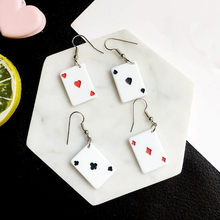 Spoof Funny Poker Card Dangle Earrings 4 style Acrylic spades Playing Jewelry nice birthday gift Personality Poker Car Earrings(China)