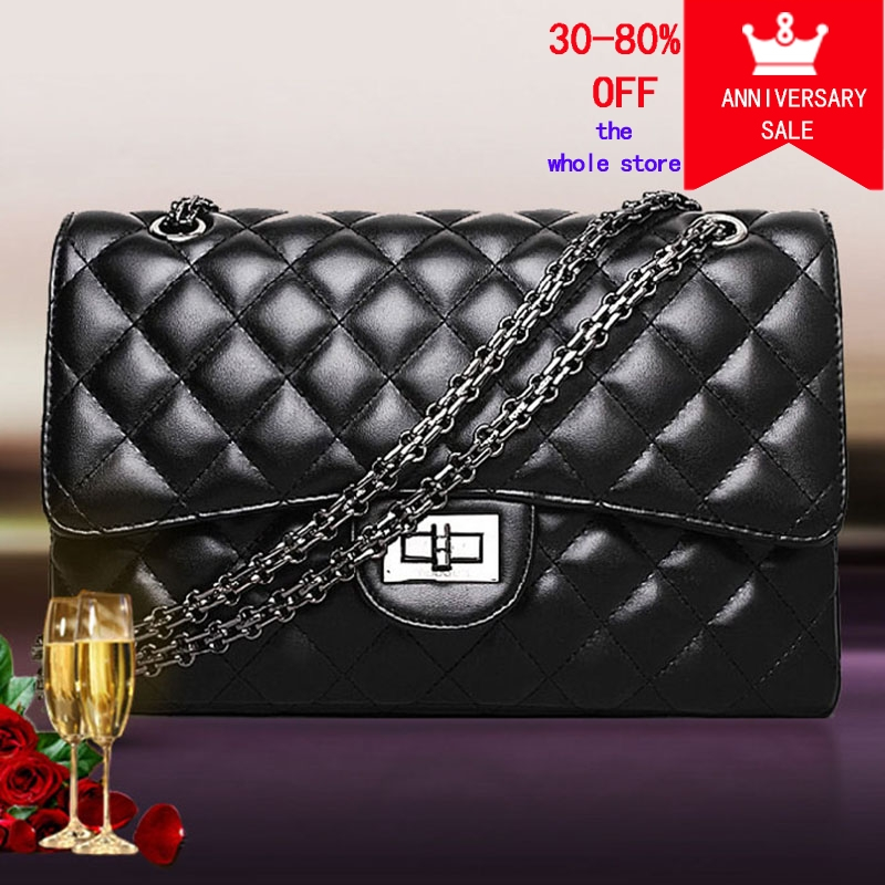 2018 Black Women Shoulder Bags Female Party Crossbody Chain Bag Plaid Handbag Quilted Sac A Main Femme Women Leather Handbags real picture kids evening gown luxury flower girl dresses for wedding long trailing princess dress ball gown beading dress