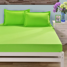 Green Color Polyester Fitted Sheet Single Double Size For Kids Adults Bed Sheets 1 Piece Bed Sheet Only XF335-3