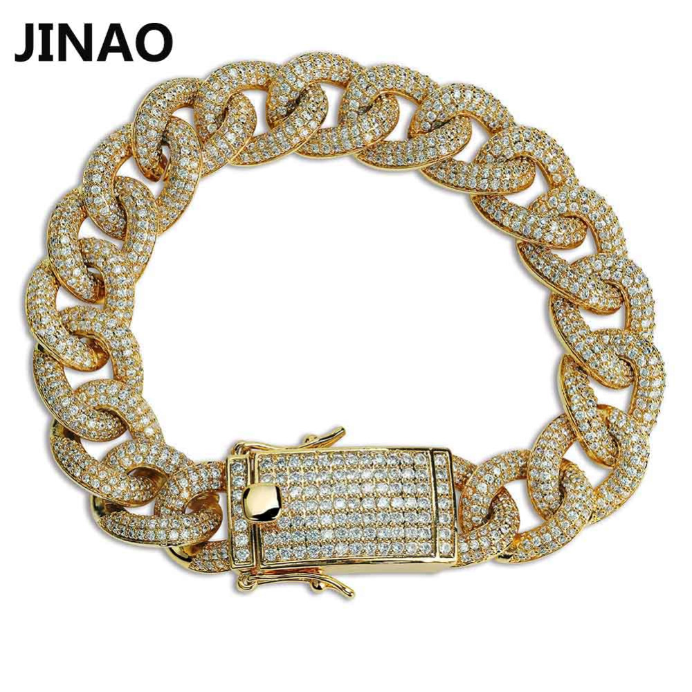JINAO New Fashion Plated Micro Pave Cubic Zircon Bracelet All Iced Out 7 8 Length Cuban