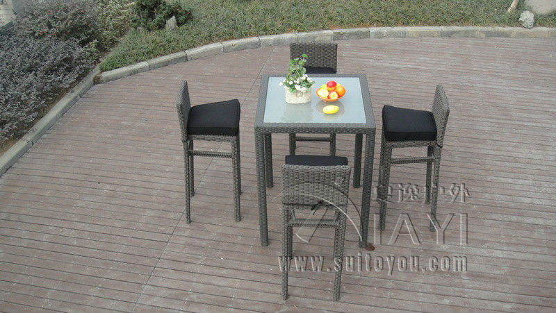 5pcs metal frame bistro pool bar set resin wicker patio