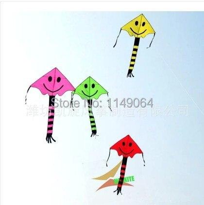 Livraison gratuite de haute qualité enfants souriant visage cerfs-volants 20 pcs/lot avec poignée ligne weifang cerfs-volants usine en gros hcxkites jouets